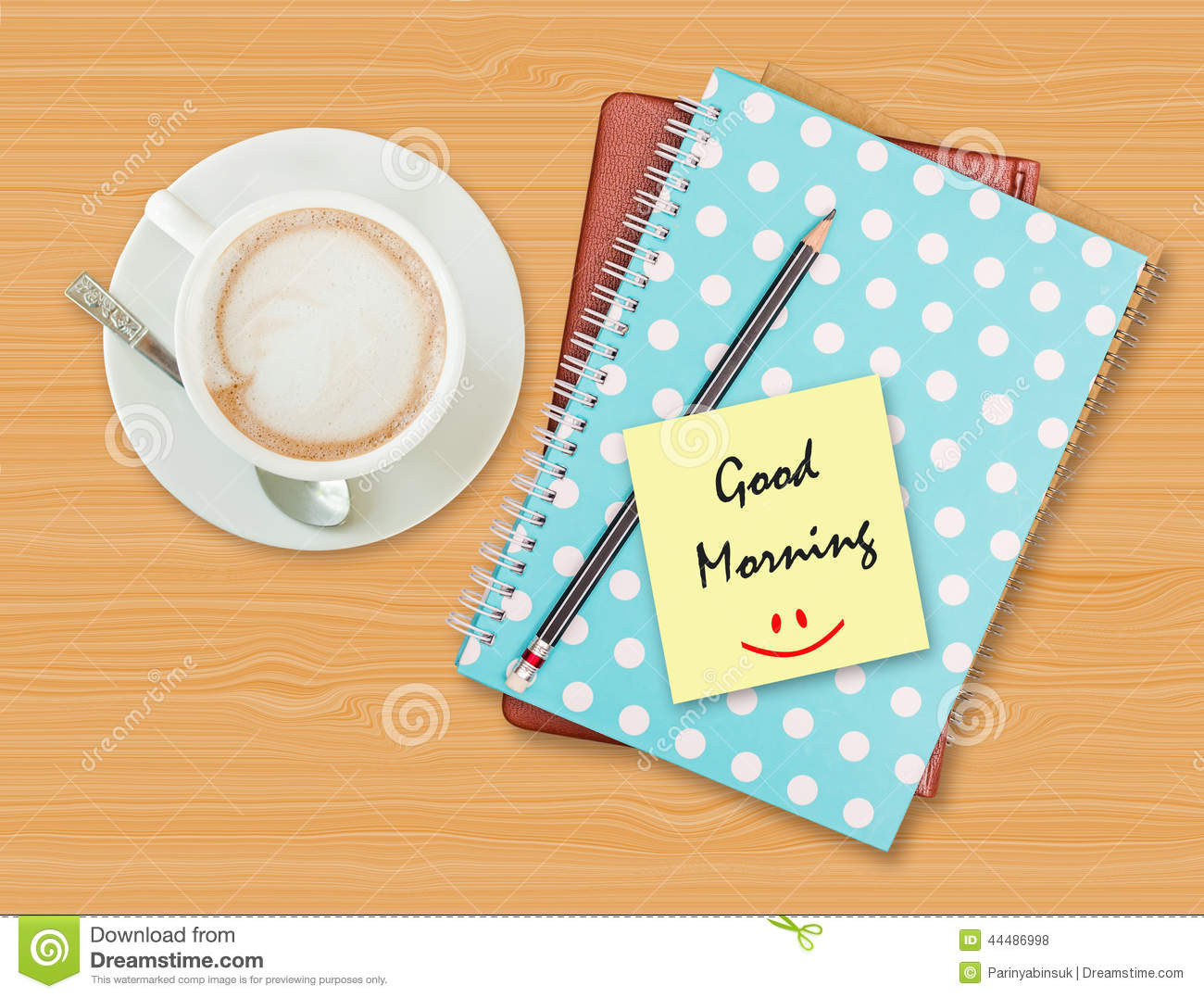 Good Morning And Smile On Blank Paper With Coffee Cup Stock Photo