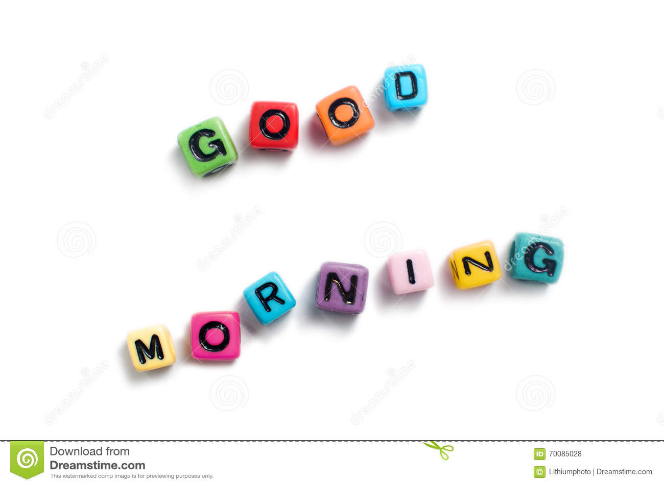 Good Morning Spelled Out In Colorful Cube Beads Stock Photo Image