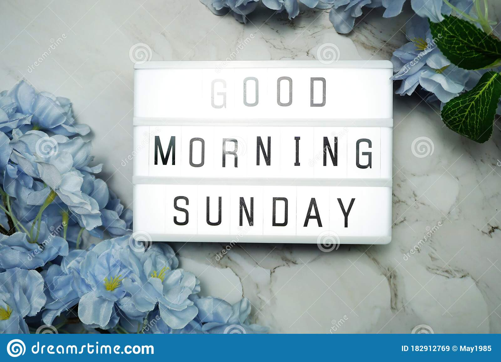 Good Morning Sunday Word In Light Box With Flowers Decoration Stock Image Image Of Massage Happy 182912769