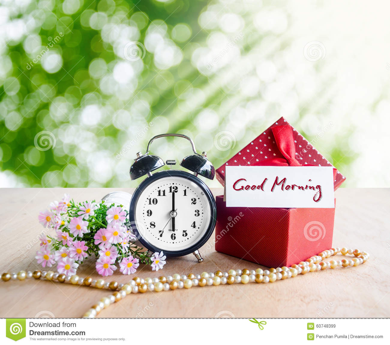 good morning tag and alarm clock stock image image of nature