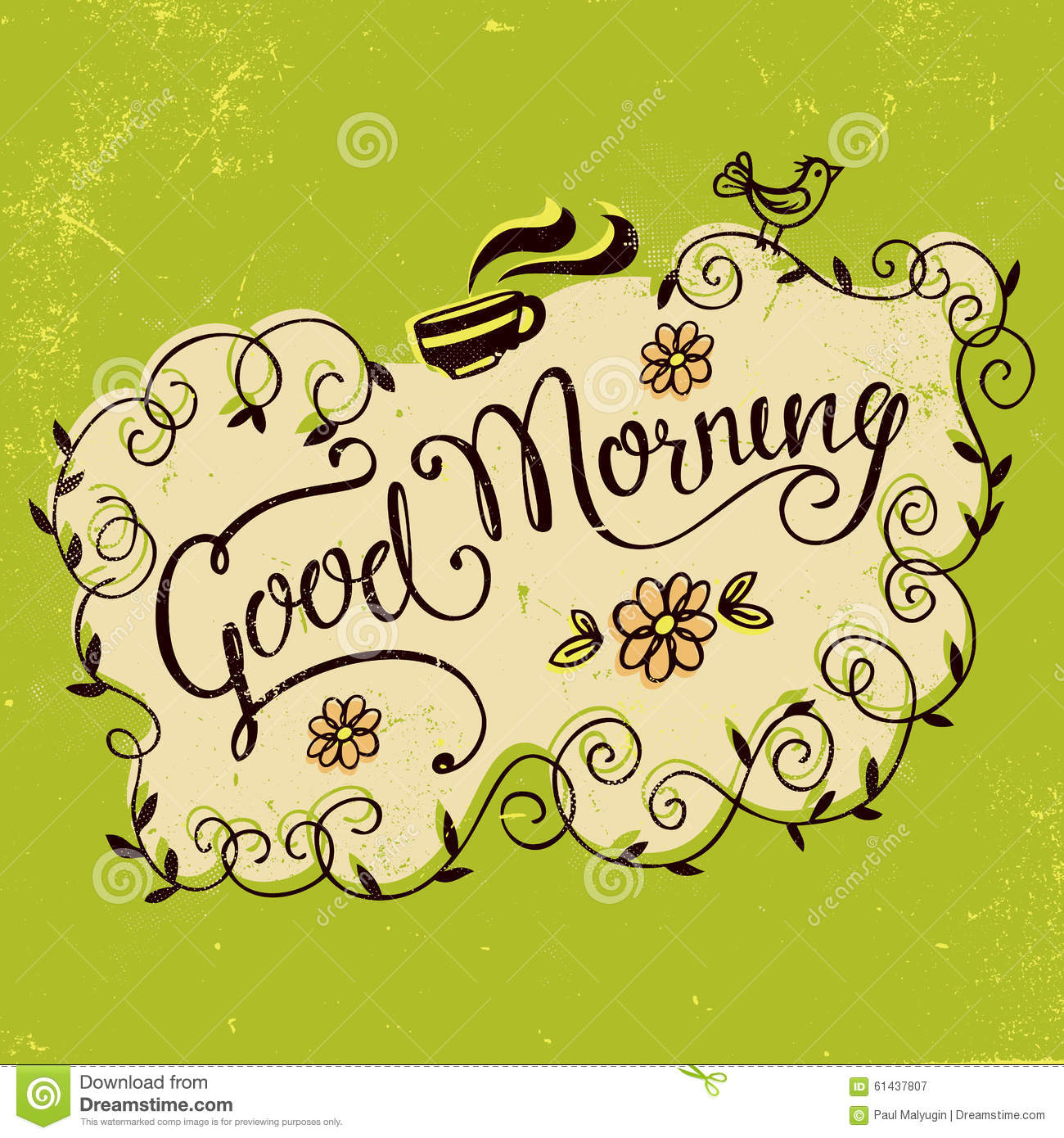 Good Morning Vintage Photos : Good morning vintage hand lettering stock vector image