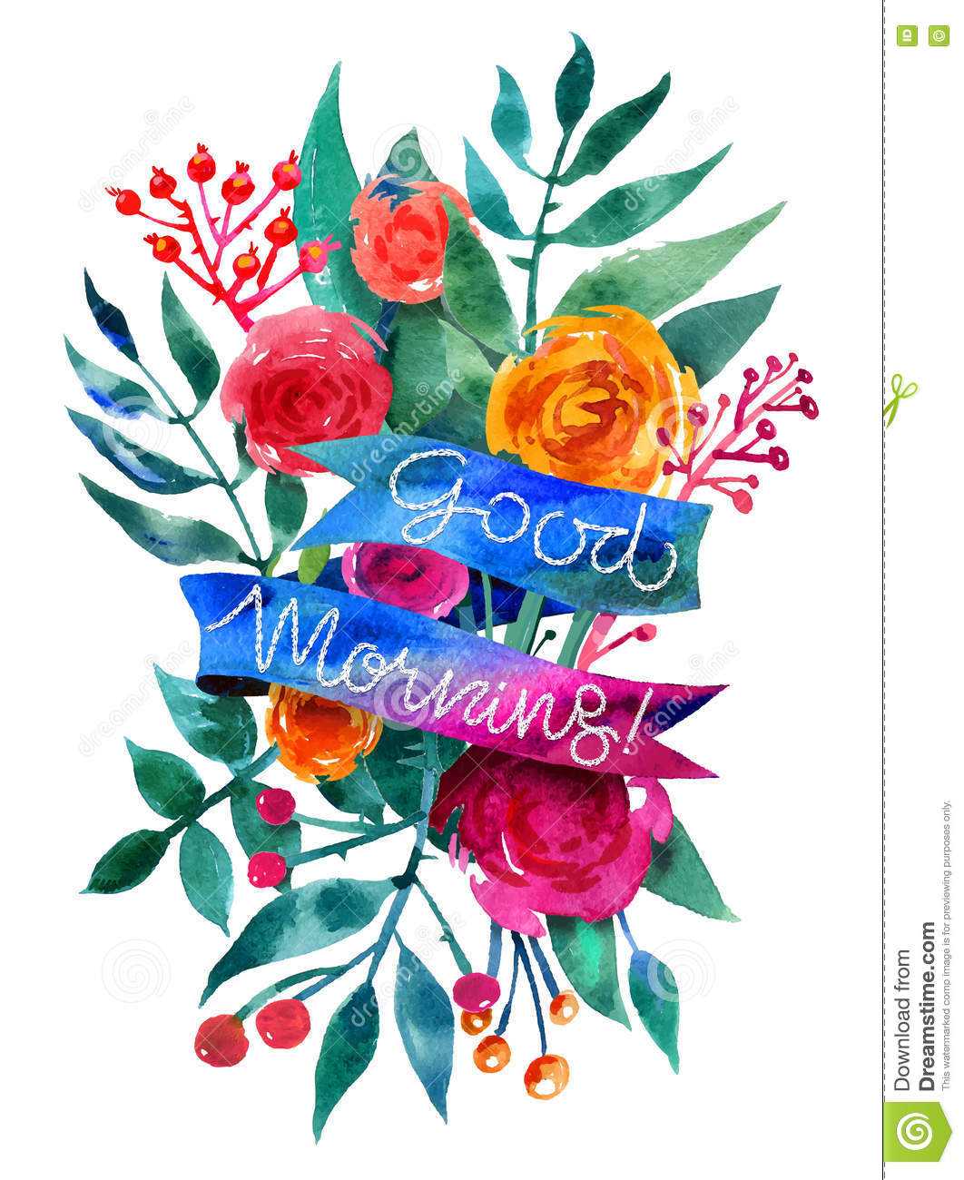 Good Morning Watercolor Flower Card Beautiful Floral Greeting C