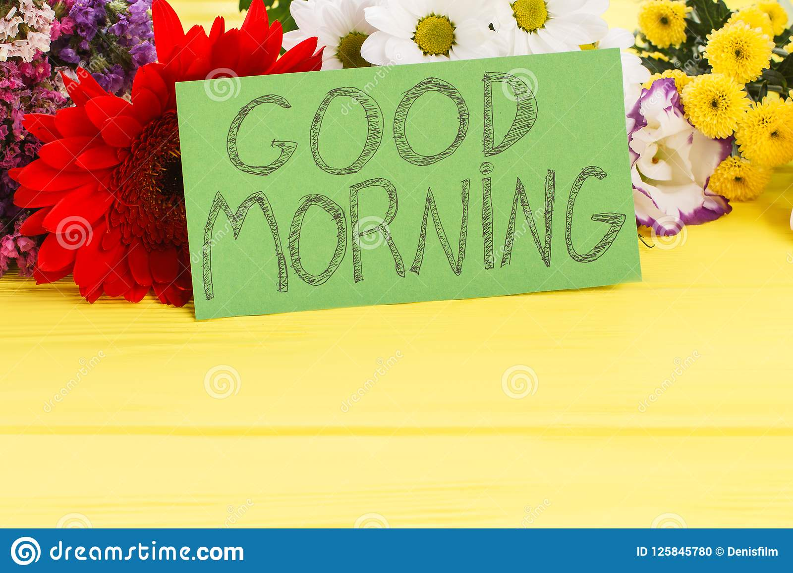 Good Morning Wish Note And Beautiful Flowers Stock Photo Image Of