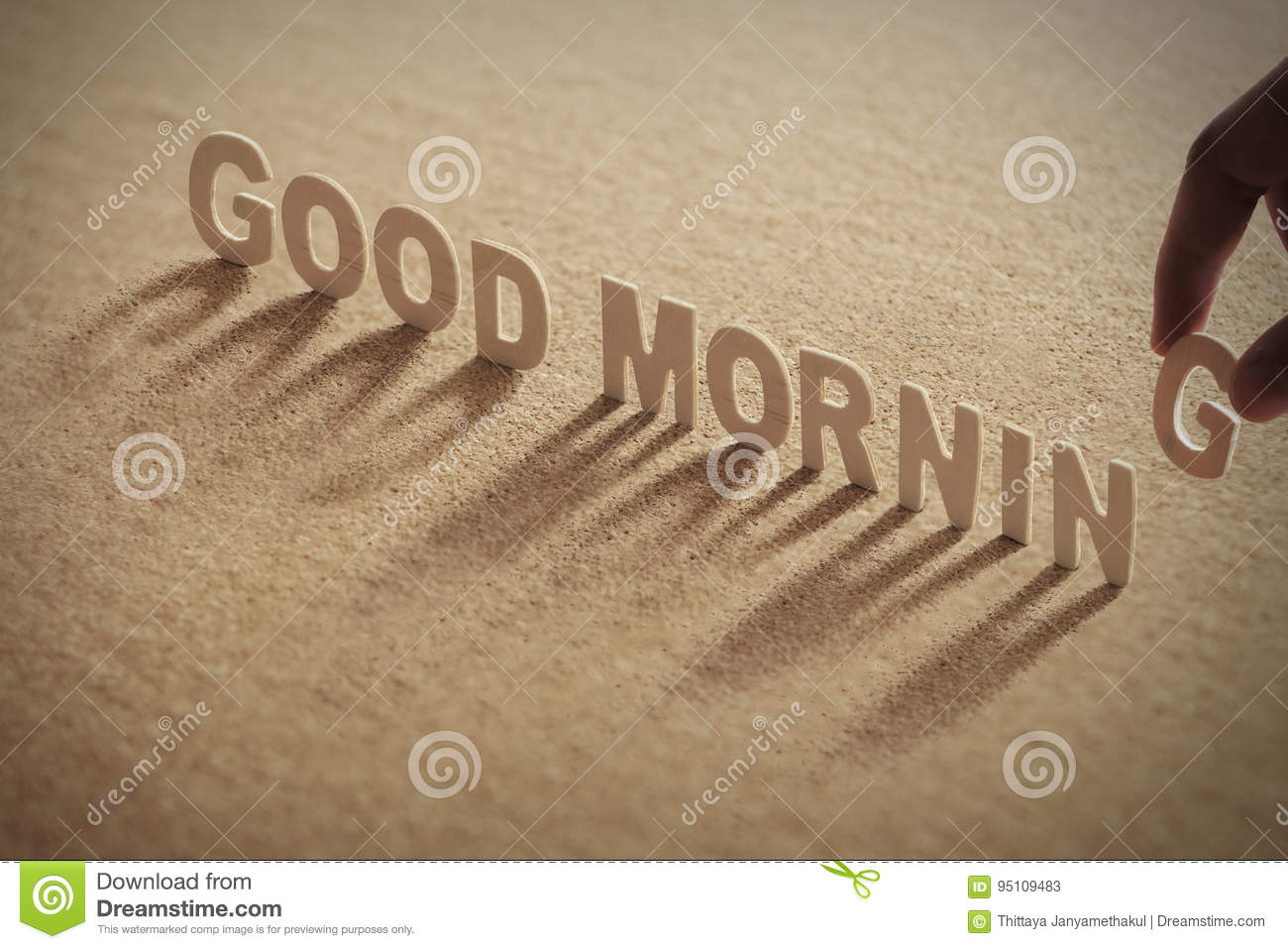 GOOD MORNING wood word on compressed board