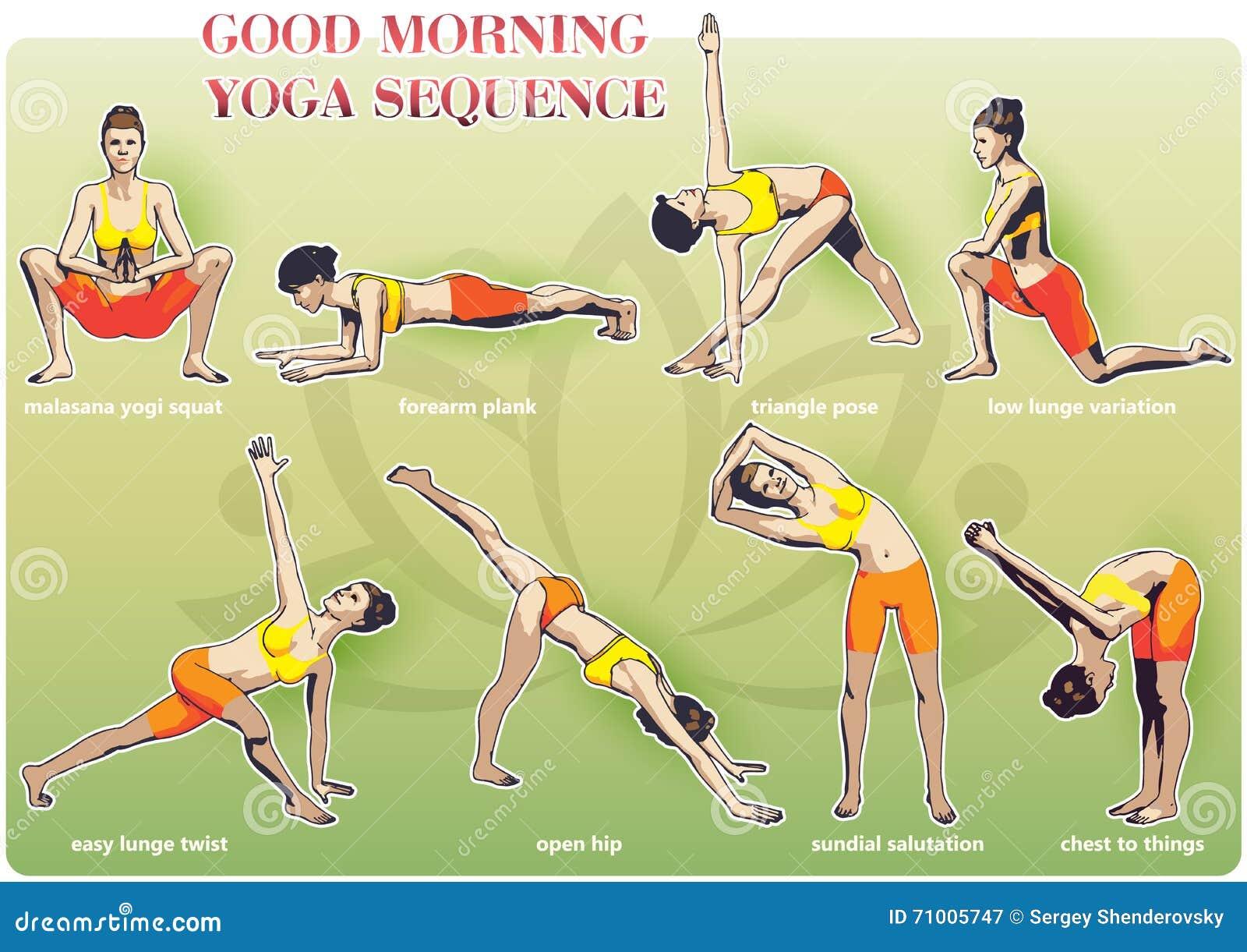 good morning yoga sequence stock vector image 71005747. Black Bedroom Furniture Sets. Home Design Ideas