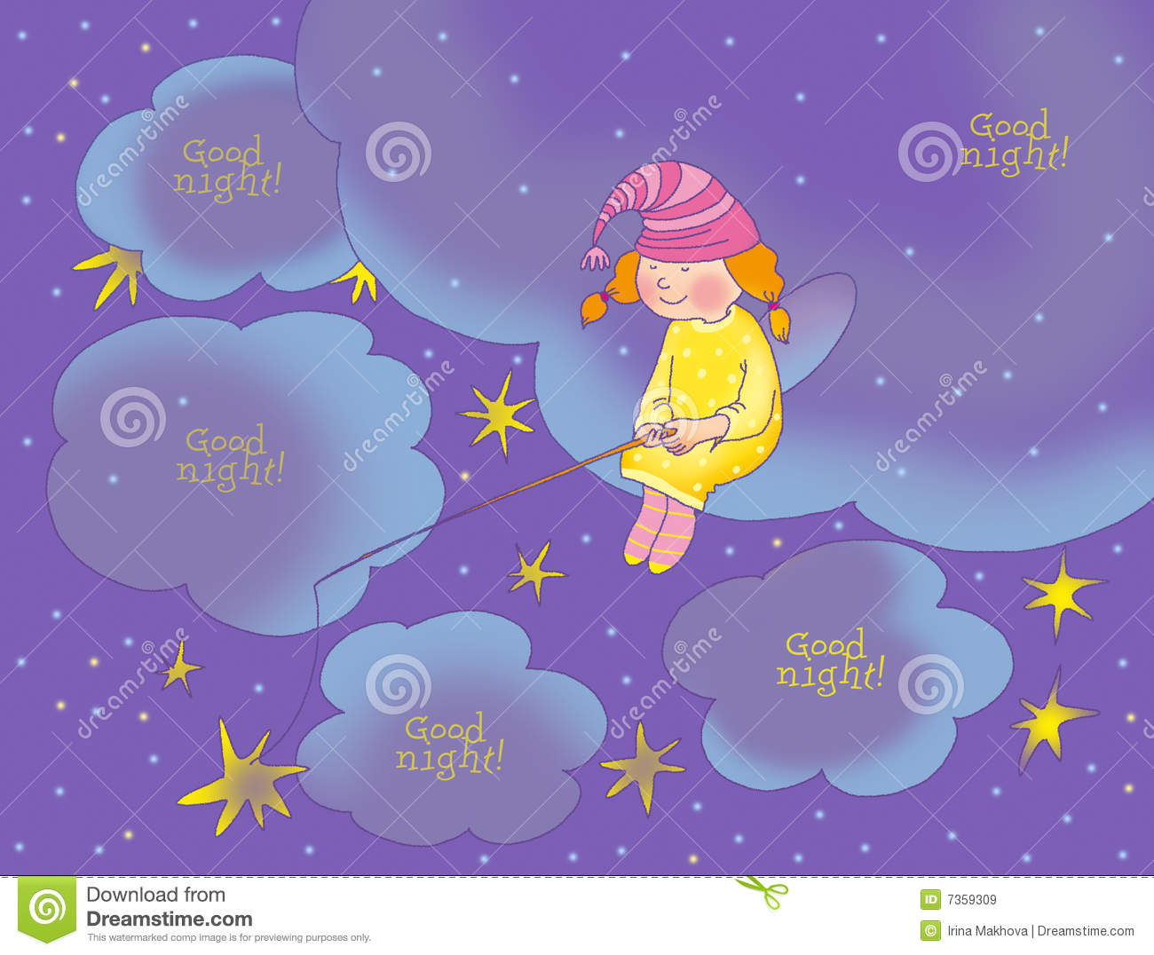Good night card stock illustration illustration of fairy 7359309 good night card m4hsunfo