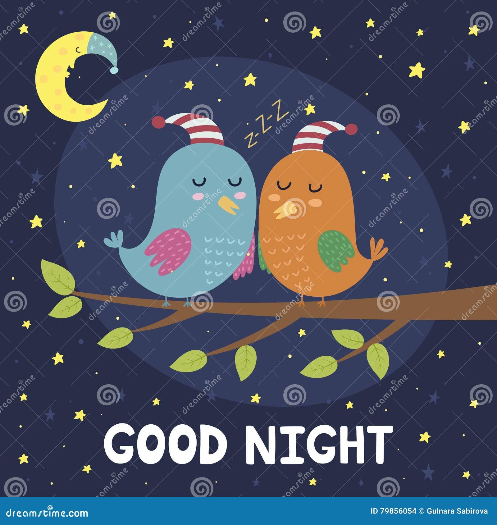 Good Night Card With Cute Sleeping Birds Stock Vector Illustration