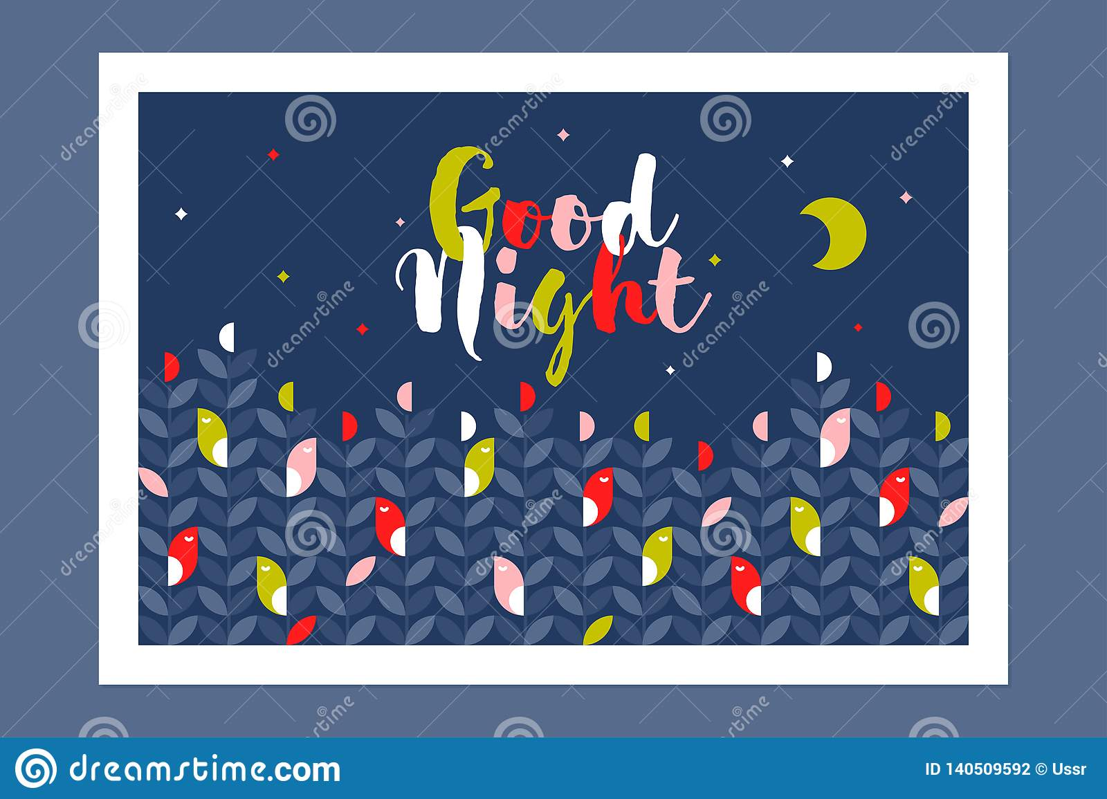 Good Night Card Or Poster With Cute Sleeping Birds And Multicolored