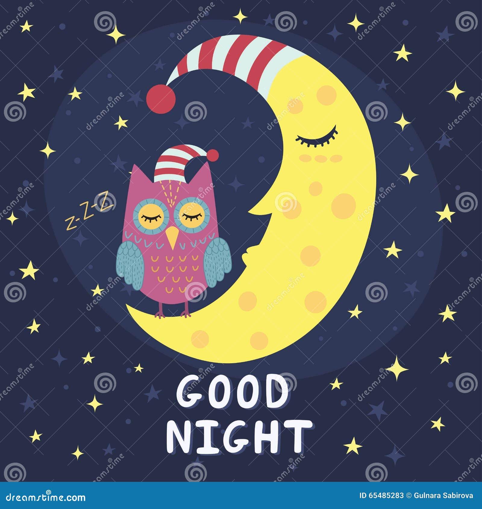 good night card with sleeping moon and cute owl stock vector