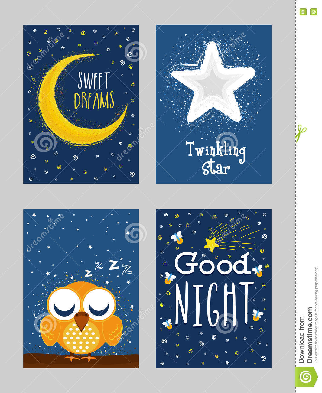 Good Night Greeting Card Set In Doodle Style Stock Illustration