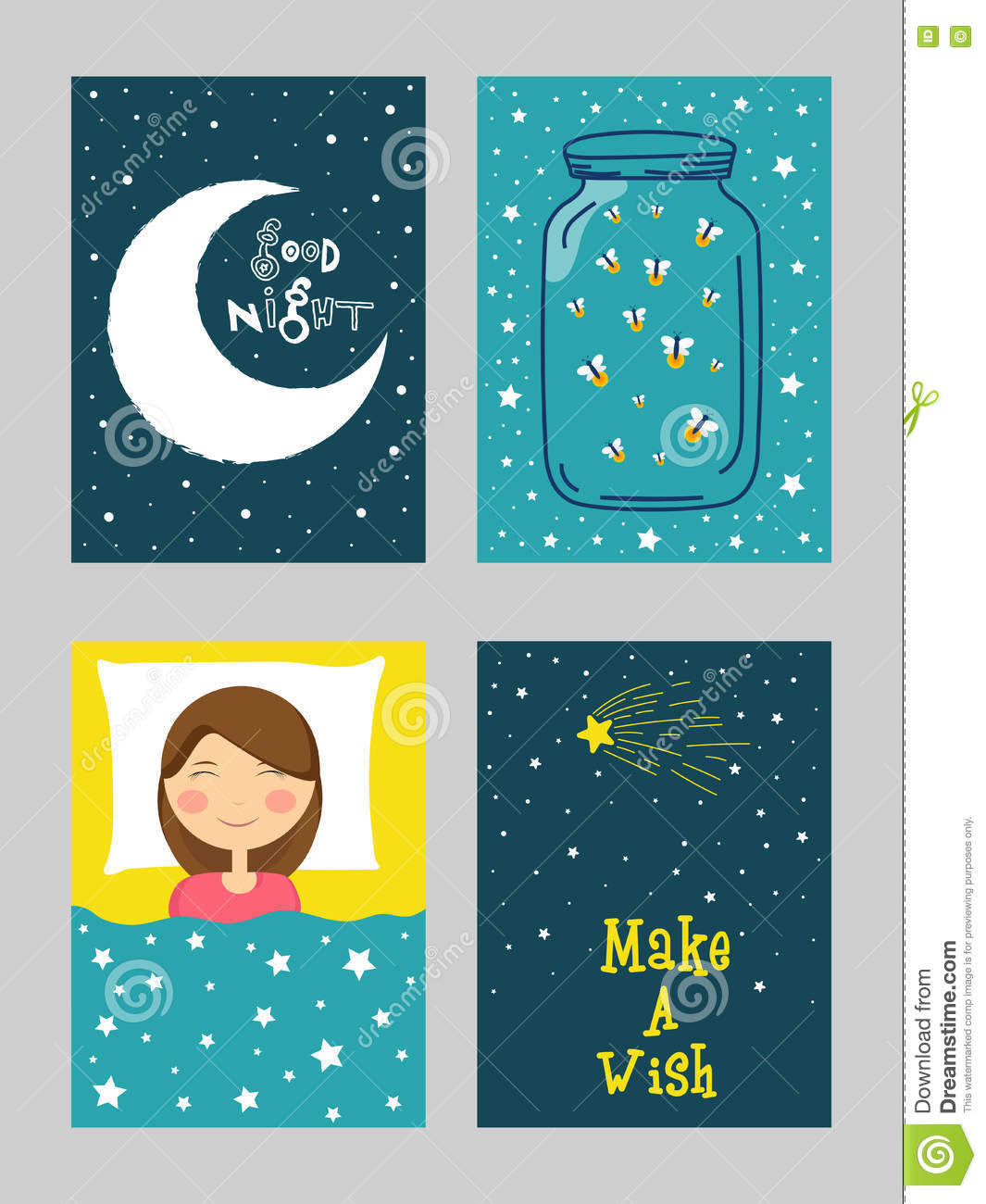 Good night greeting card set in doodle style stock illustration good night greeting card set in doodle style m4hsunfo