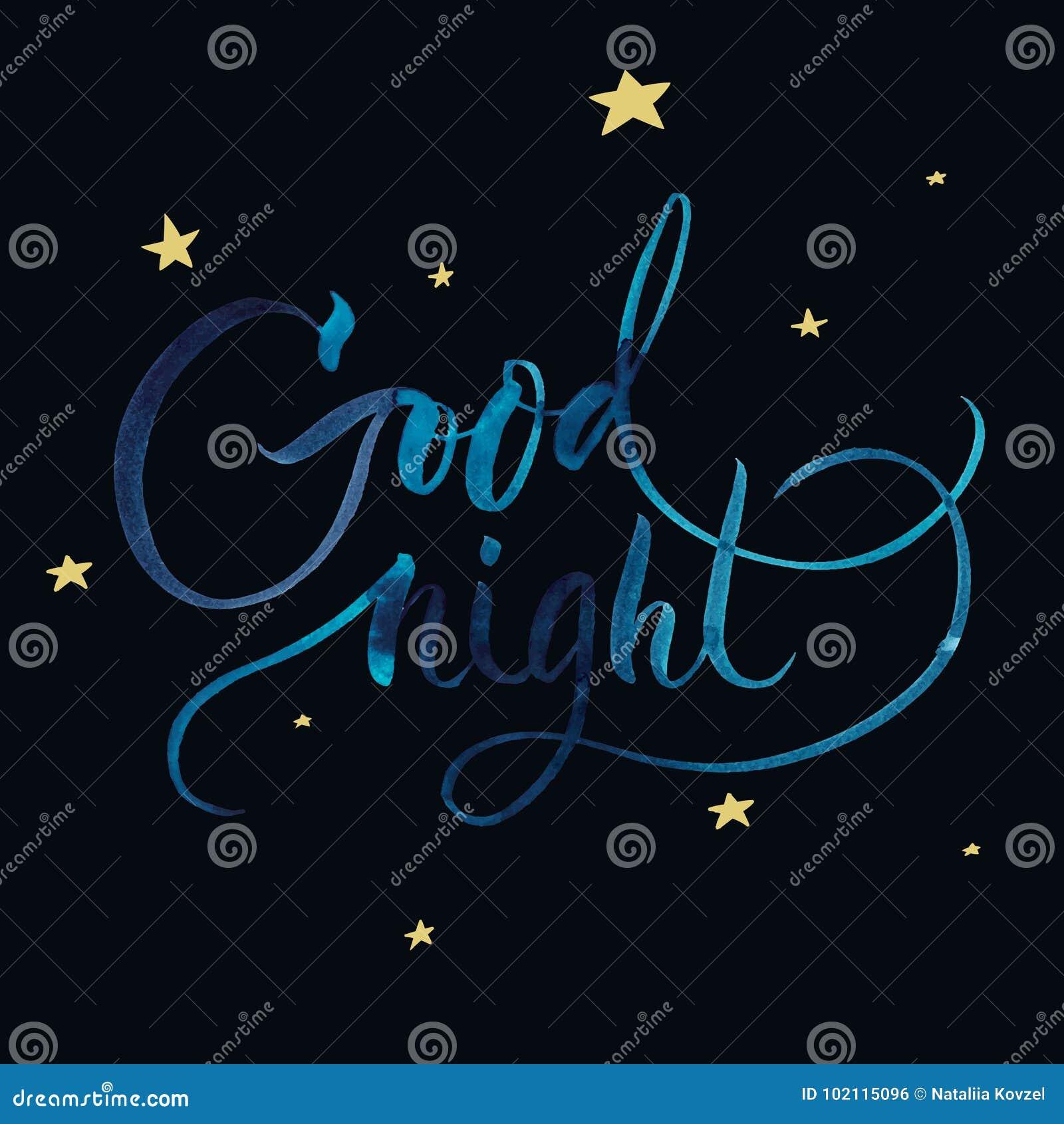 Good Night Handmade Watercolor Brush Lettering For Print Card