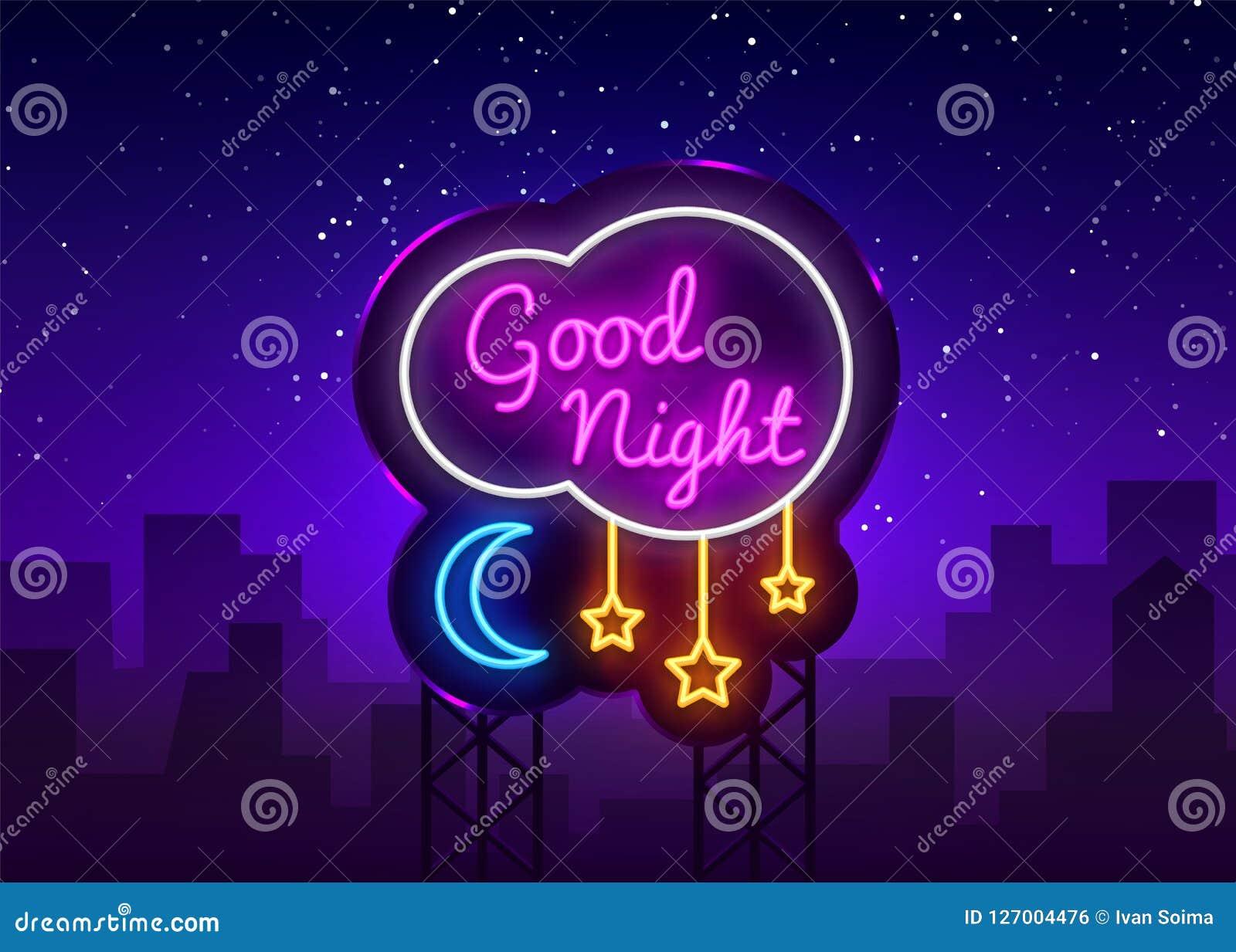 Good Night Neon Sign Vector. Good Night neon text, design template, modern trend design, night neon signboard, night