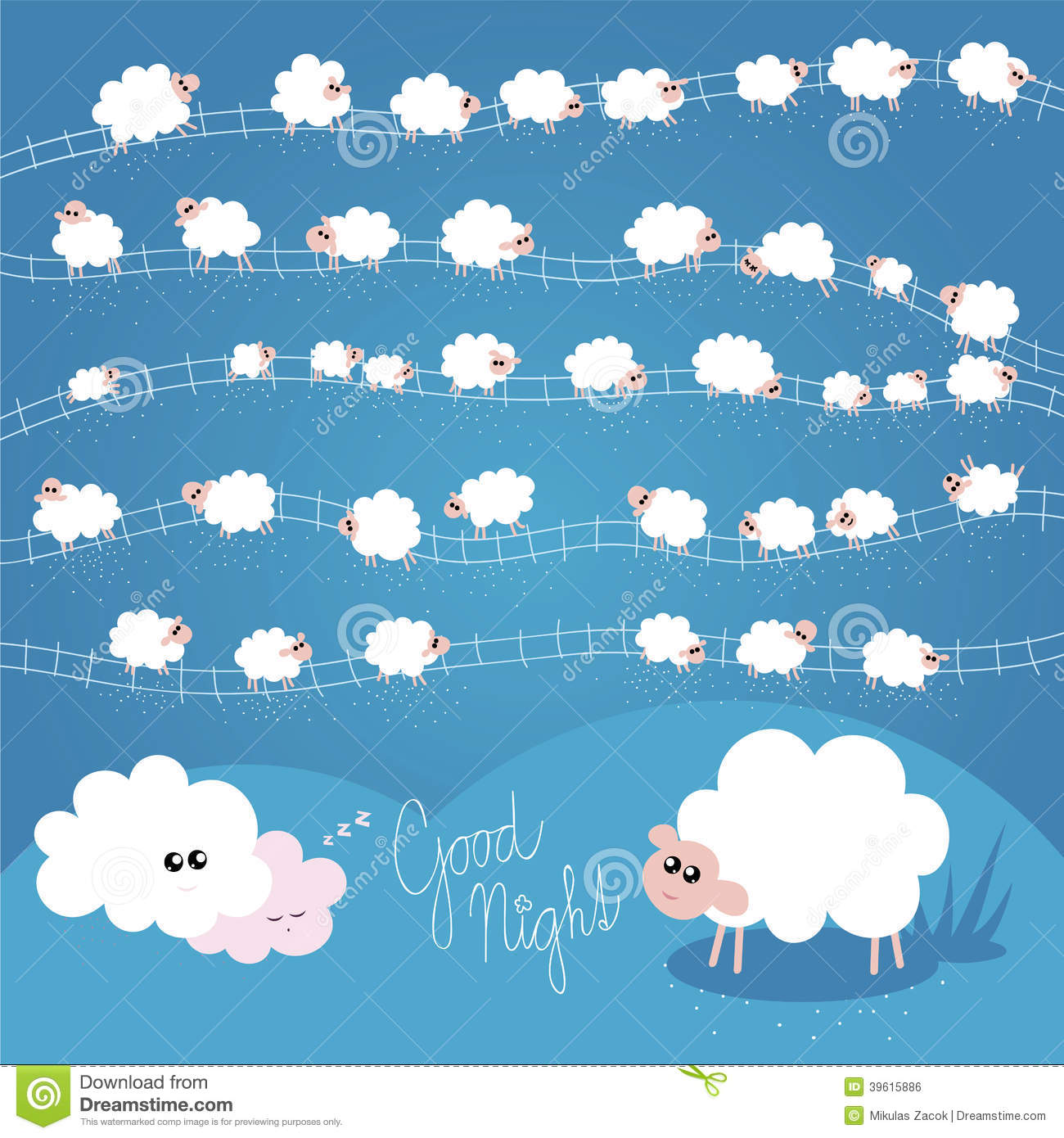Good Night Vector Illustration for Kids with Individual Sheeps.
