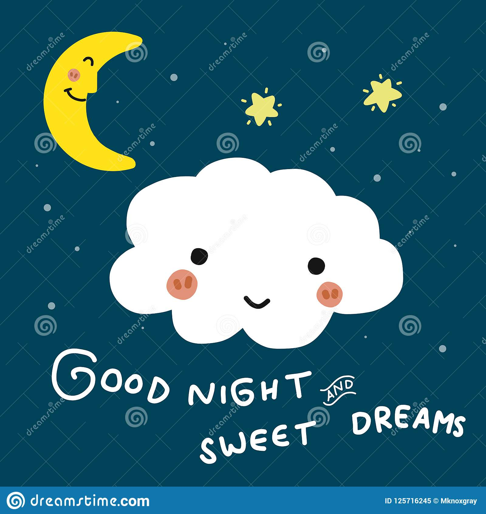 Good Night And Sweet Dreams Cloud Cartoon Vector Doodle Illustration