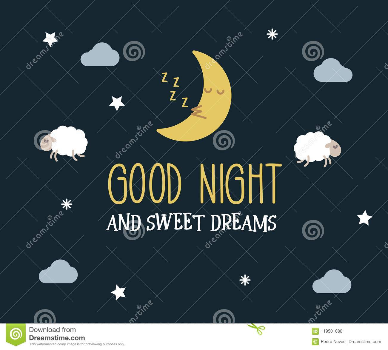 Good Night And Sweet Dreams Cute Vector Card Editable Illustration