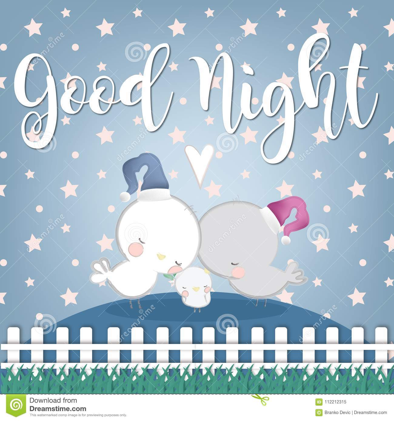 Good Night And Sweet Dreams Illustration Design Stock