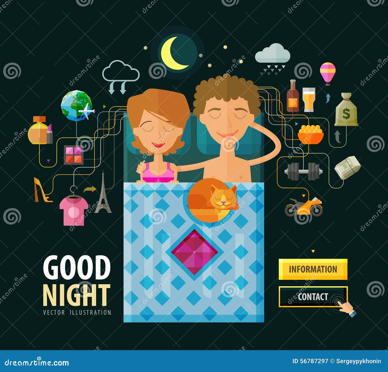 Good Night Vector Logo Design Template Dream Stock Vector