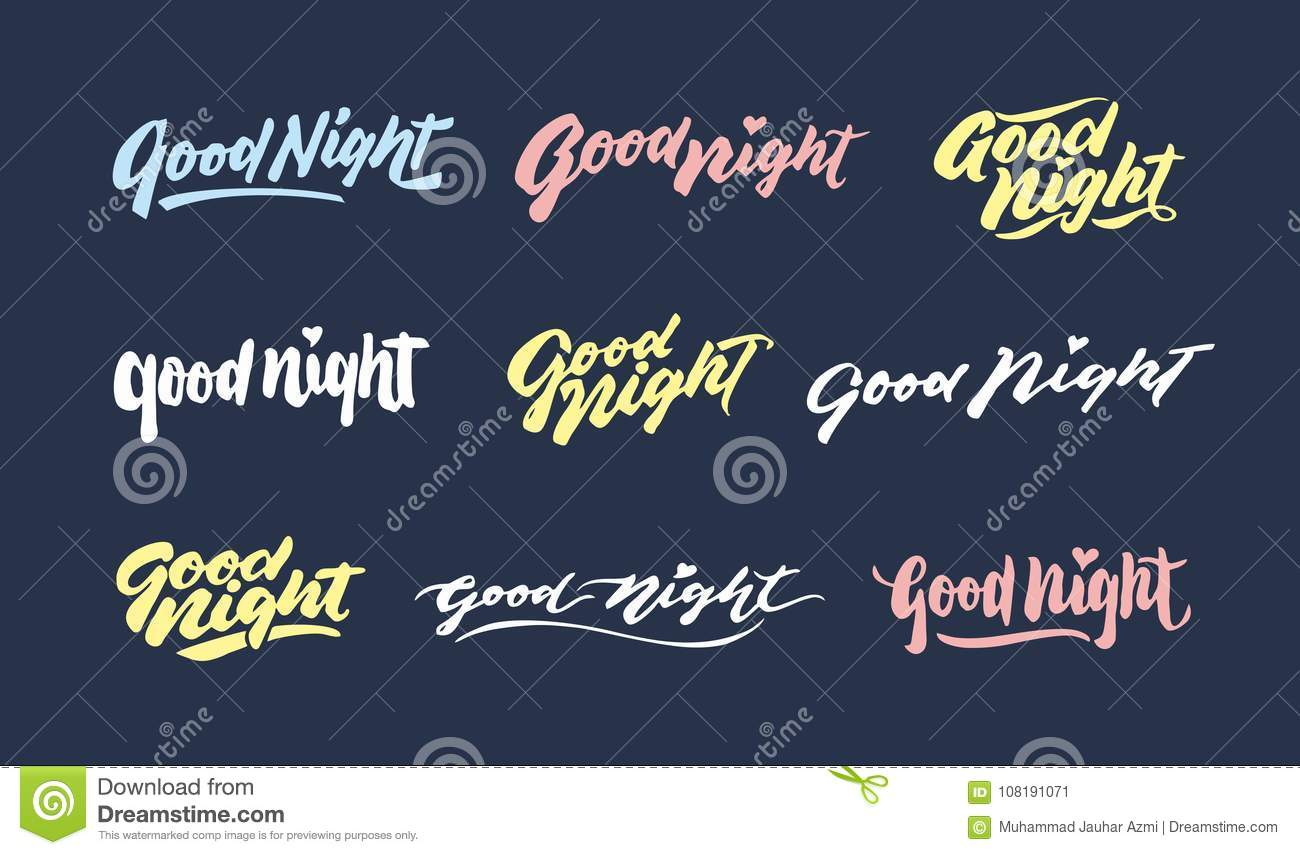 Good night vintage hand lettering typography greeting phrases royalty free vector download good night vintage hand lettering typography greeting phrases m4hsunfo