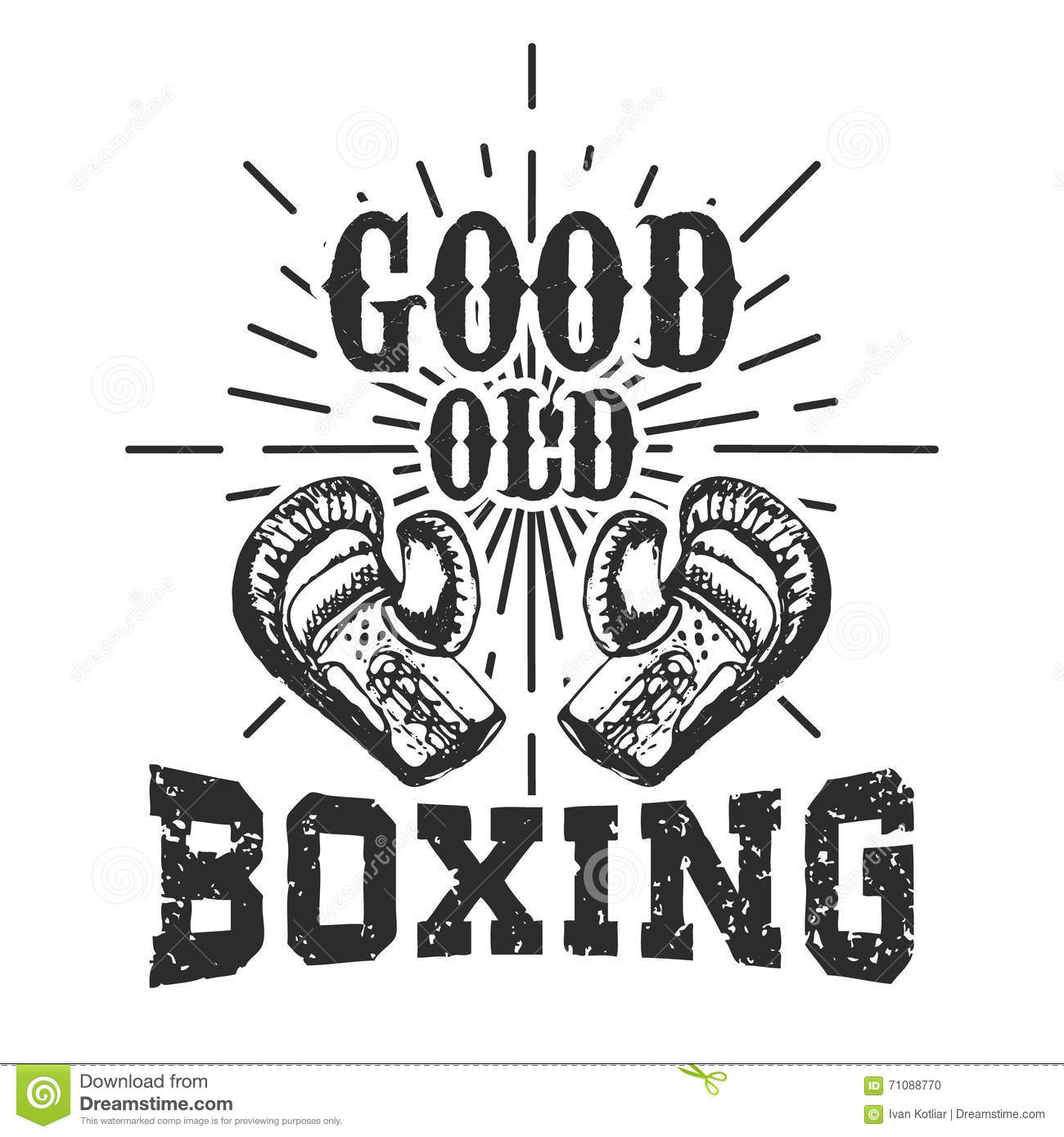 Good Old Boxing. T-shirt Print Template. Design Elements For Log ...