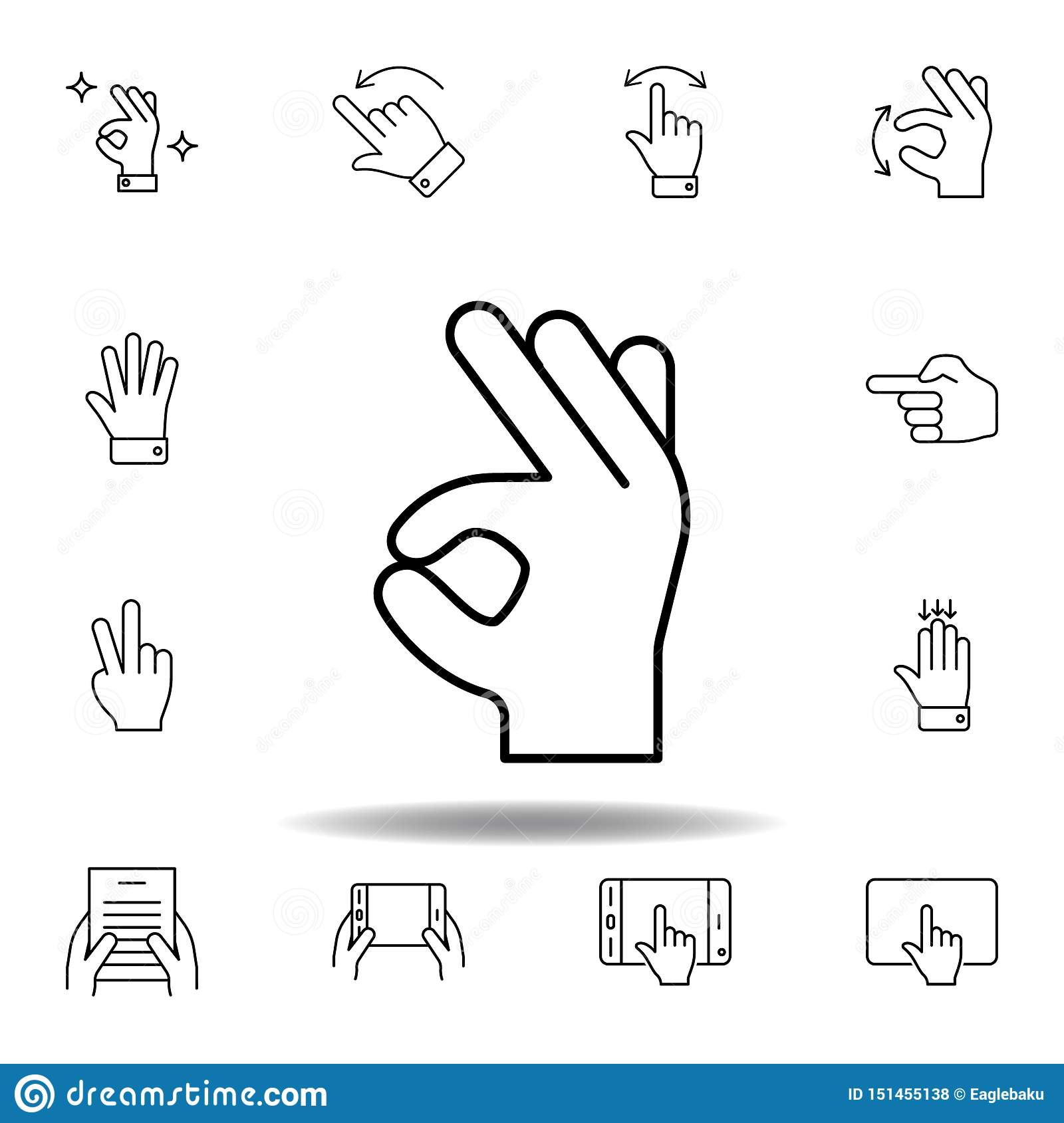 good, perfect gesture outline icon. Set of hand gesturies illustration. Signs and symbols can be used for web, logo, mobile app,