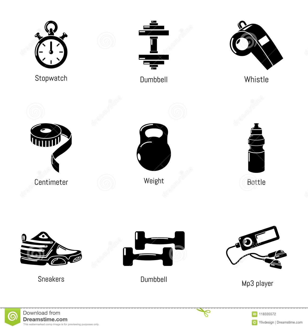 Good Physical Shape Icons Set Simple Style Stock Vector