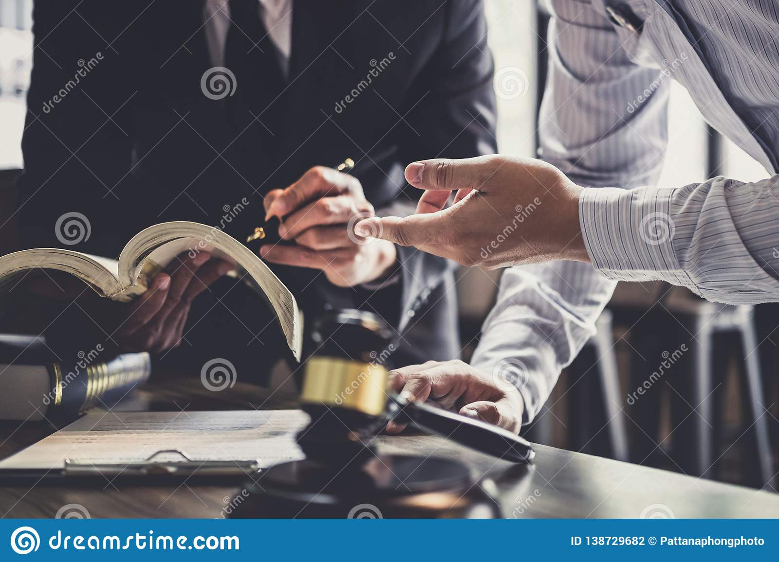 Good service cooperation, Consultation of Businessman and Male lawyer or judge counselor having team meeting with client, Law and