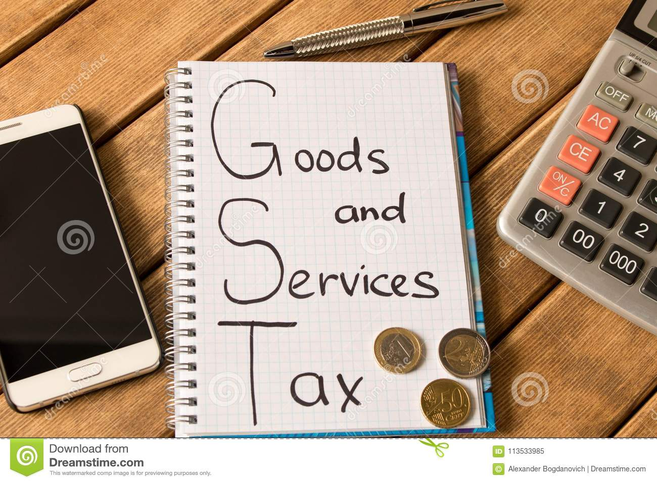 Good service and tax . Notepad, pen, coins, smart phone on wood