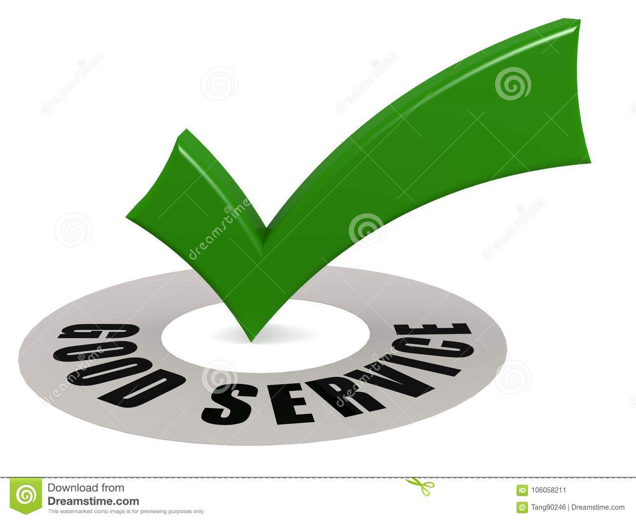 Good Service Word And Green Check Mark Stock Illustration