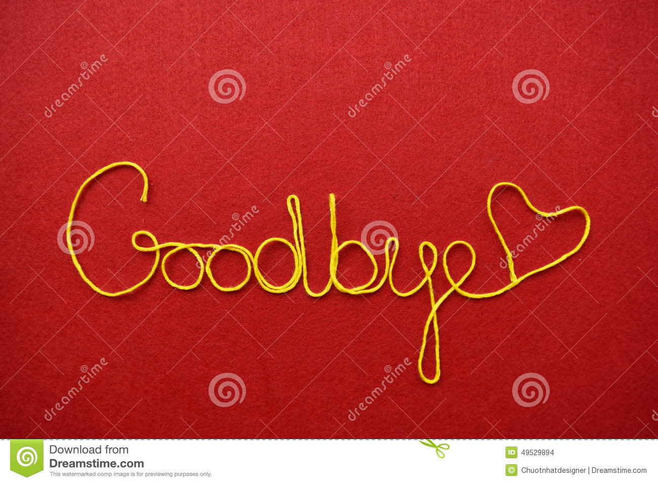 Goodbye Ribbon Greeting And Hearts On Red Background Stock Photo