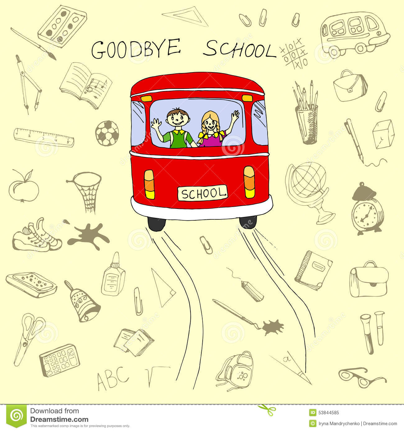 Goodbye School Concept, School Bus And Children In It With