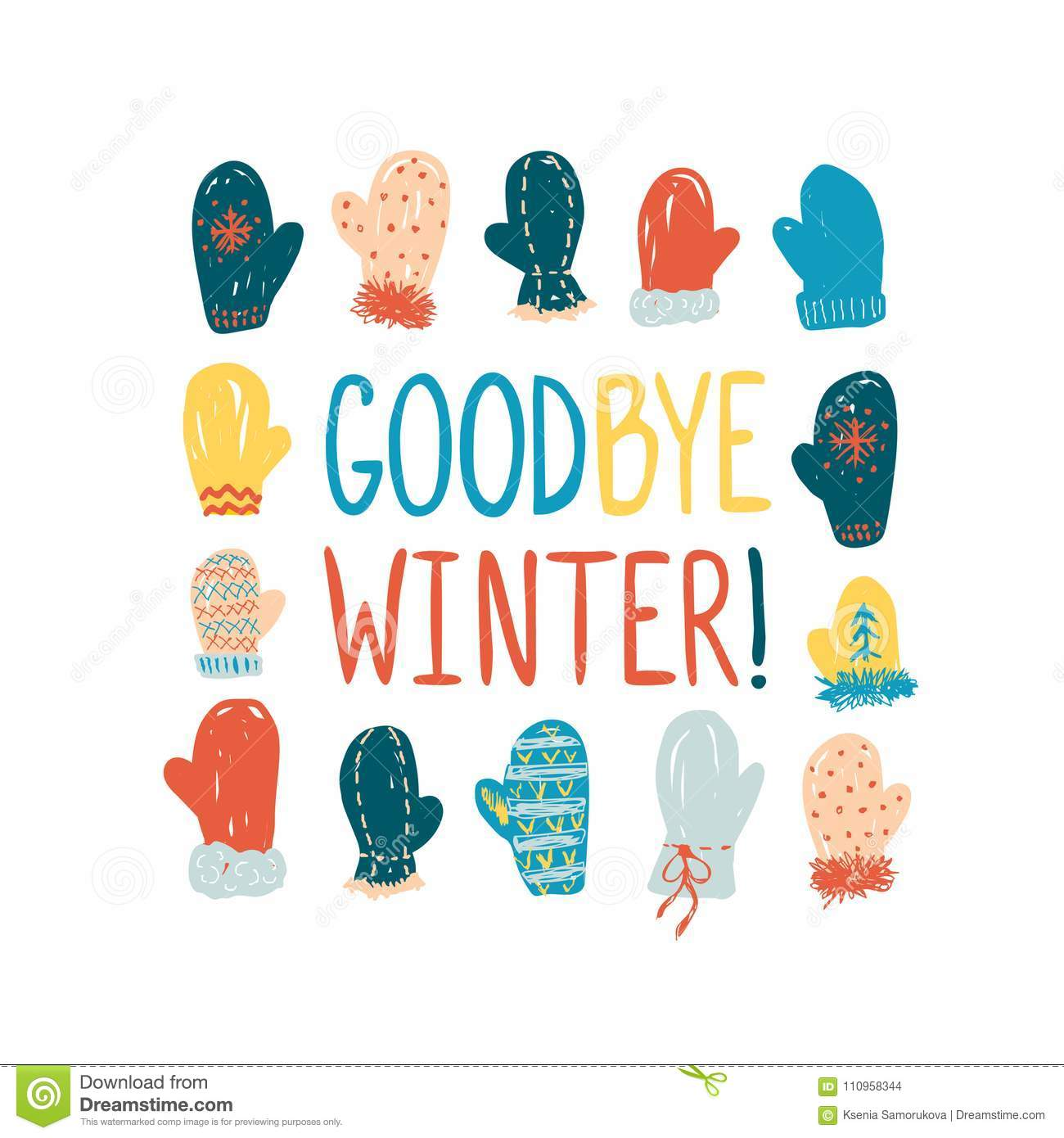 Goodbye winter greeting card with mittens stock illustration goodbye winter greeting card with mittens kristyandbryce Image collections