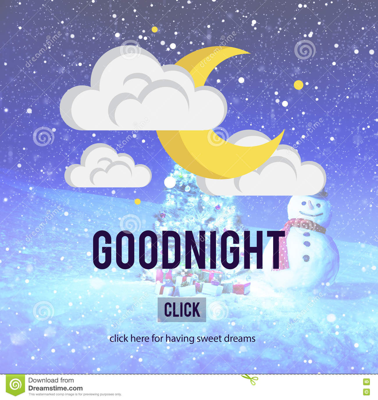 Goodnight Sweet Dreams Happiness Sleep Relief Concept Stock
