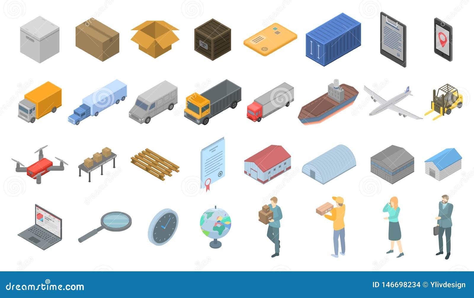 Goods export icons set, isometric style