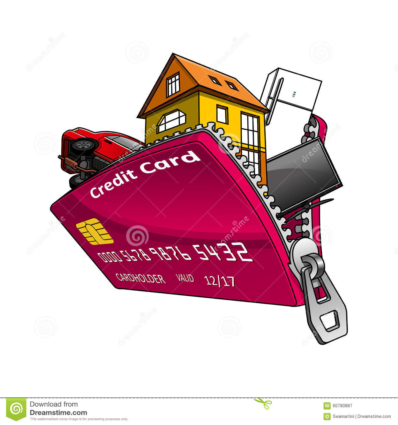 goods inside credit card with zipper stock vector - image: 60780887