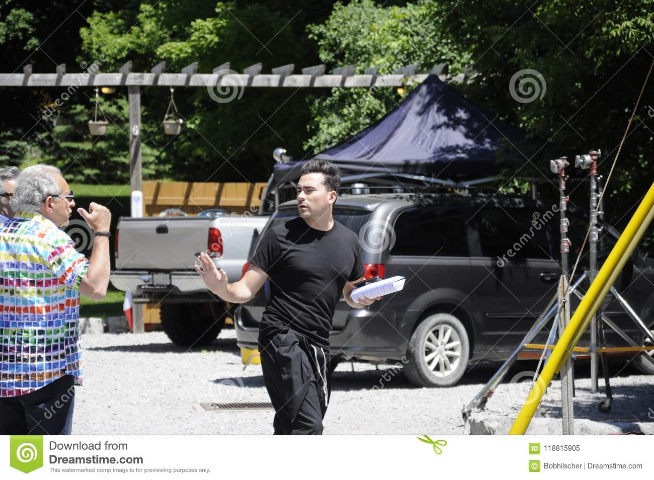 On Location `Schitt`s Creek` Film Rehearsal Featuring Canadian Actor