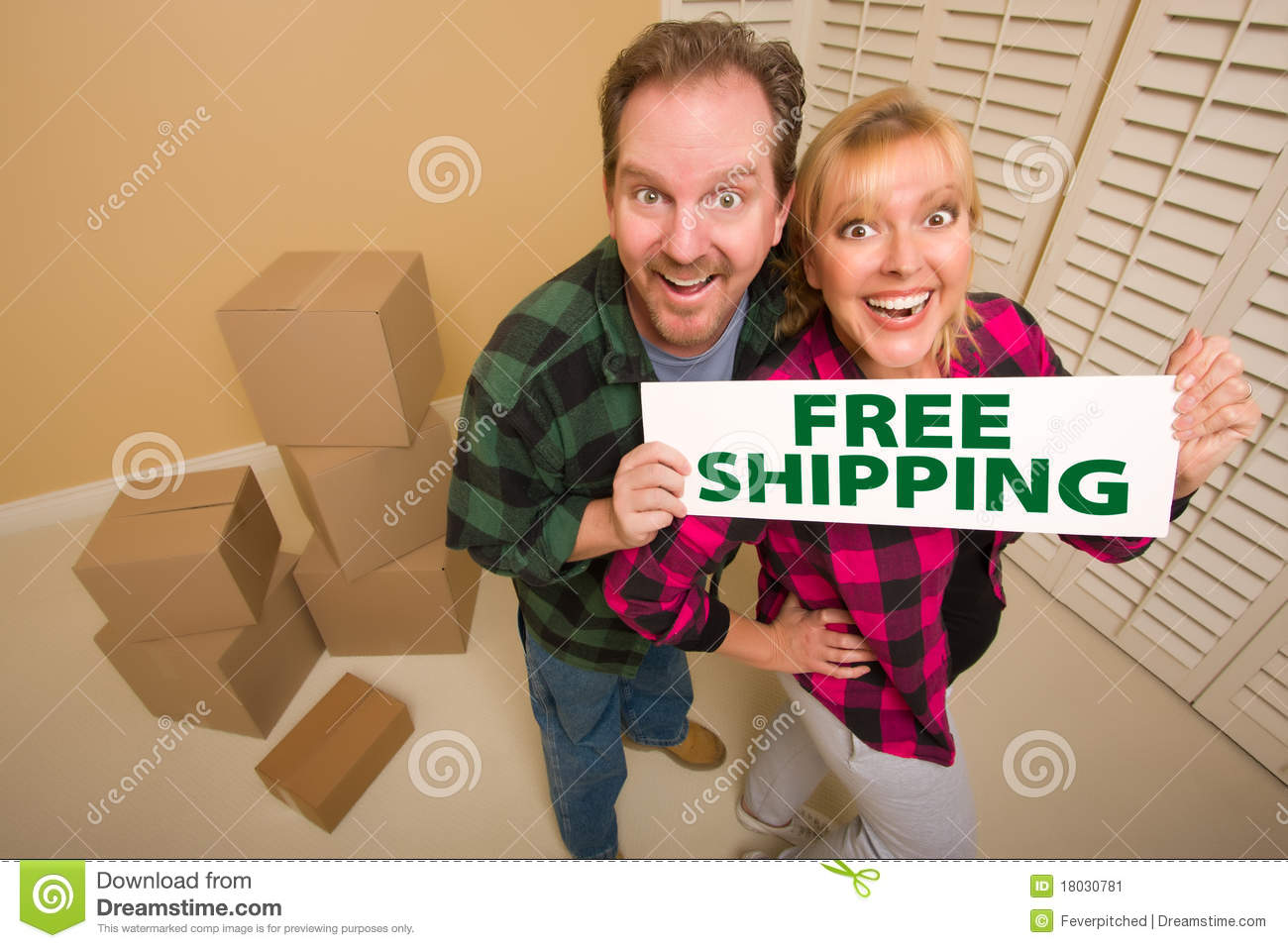 Download Goofy Couple Holding Free Shipping Sign Near Boxes Stock Image - Image of angle, real: 18030781