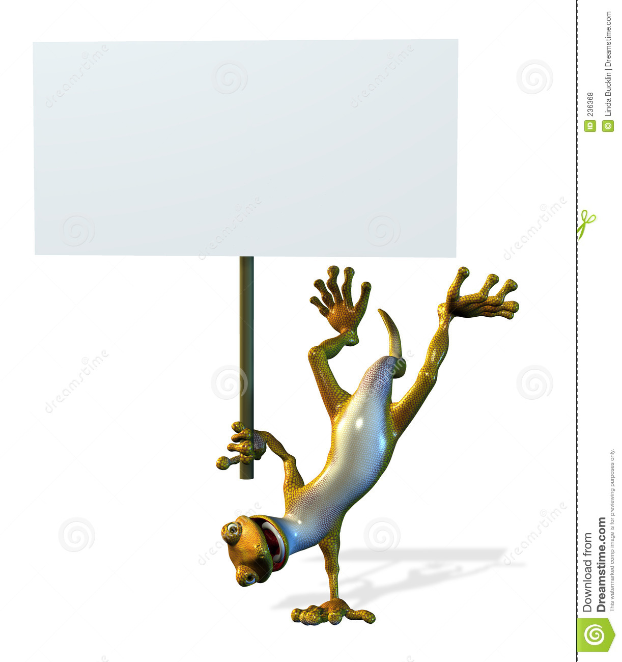 Goofy Gecko with Blank Sign - includes clipping path