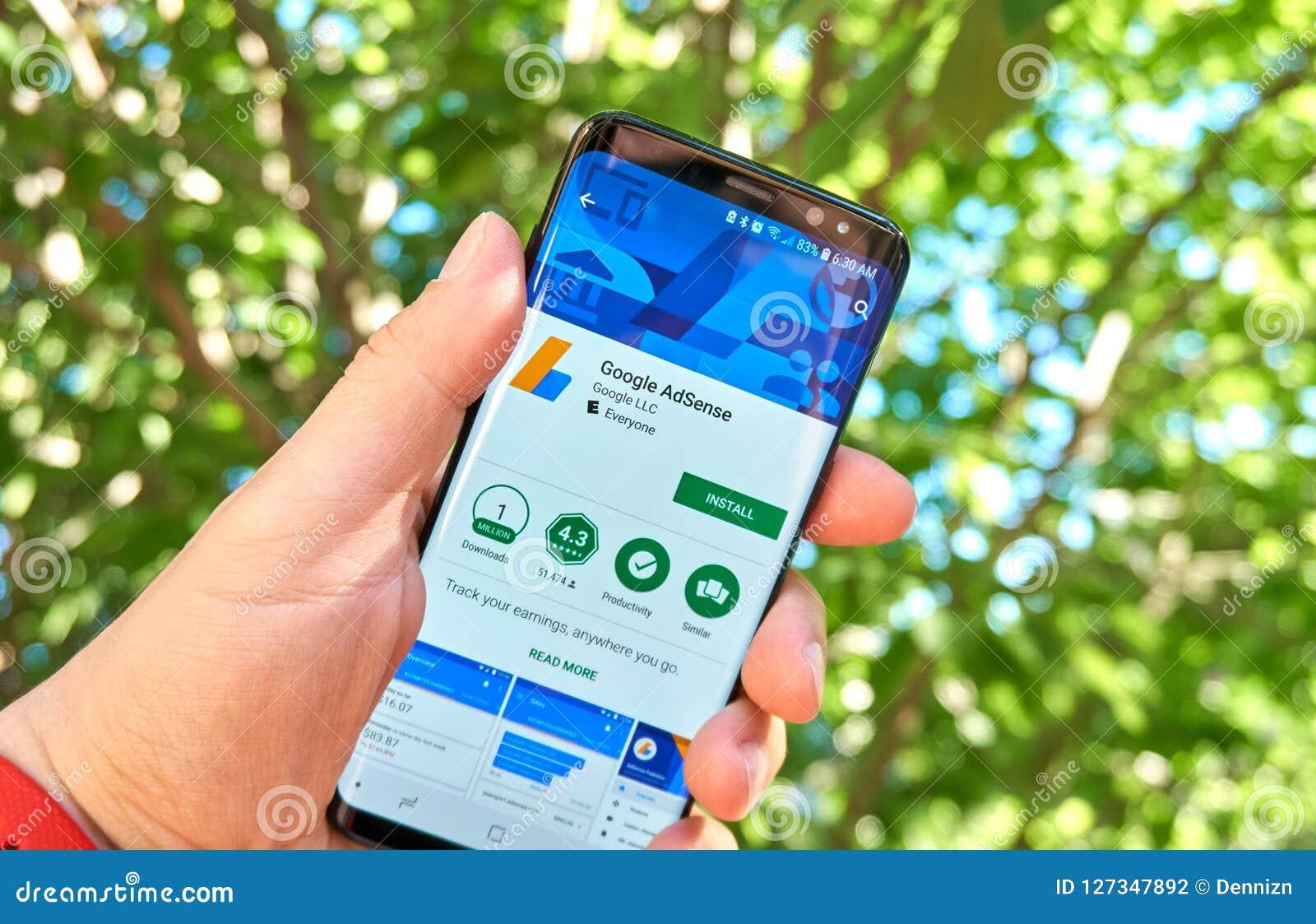 Google Adsense mobile app on Samsung s8.