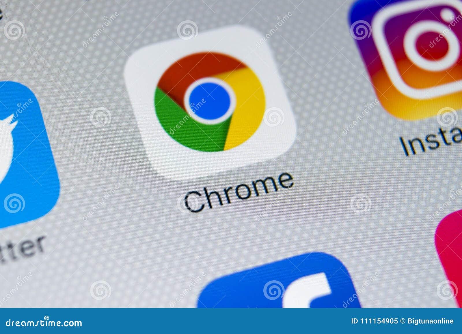 Google Chrome Anwendungsikone Auf Apple iPhone X Schirmnahaufnahme ...
