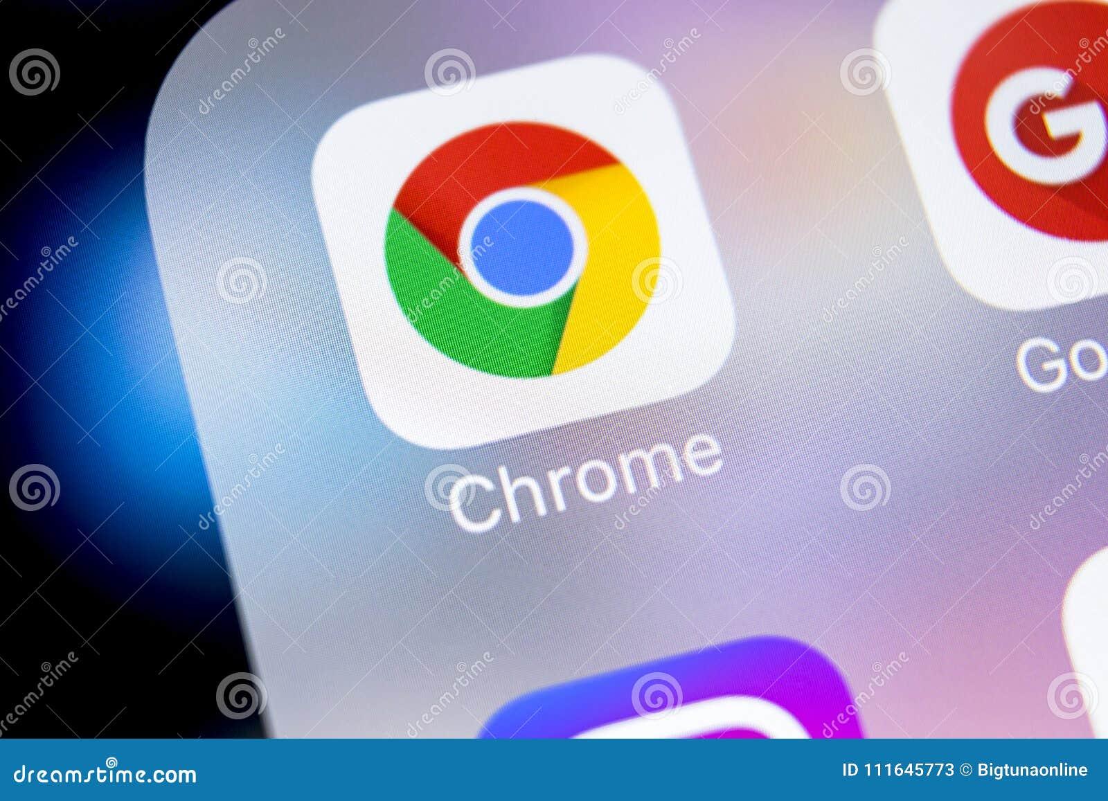 Google Chrome Application Icon On Apple IPhone X Screen