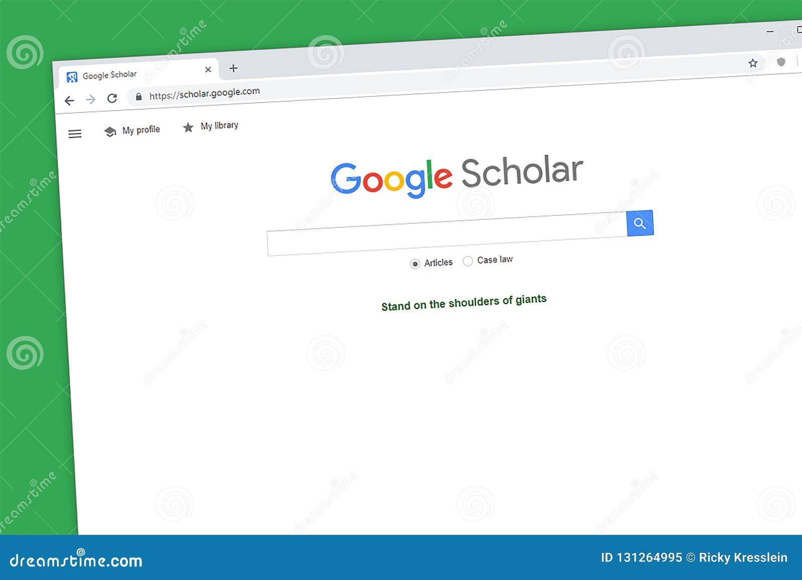 Google-de homepage van de Geleerdenwebsite