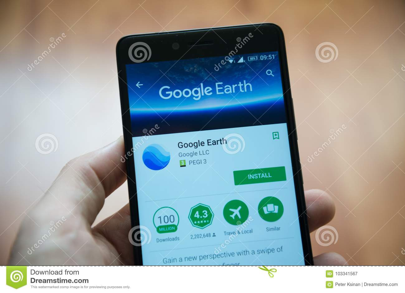 Google Earth applikation i Google leklager