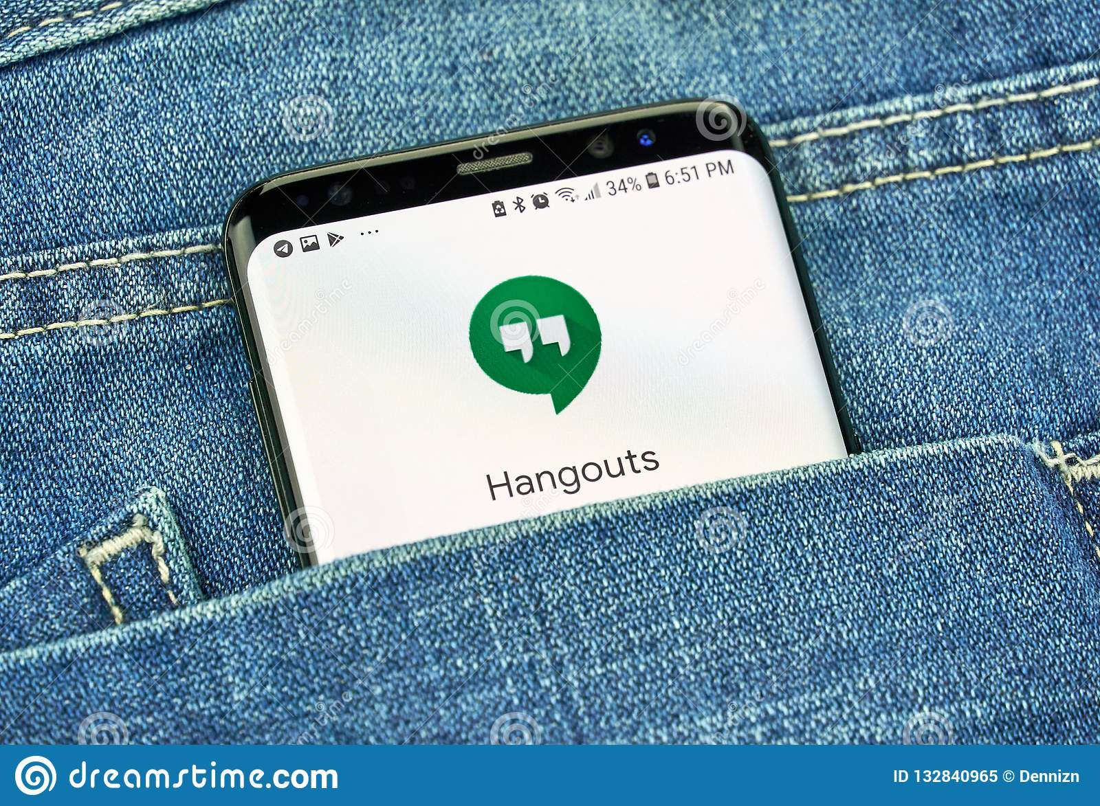 Google Hangouts On A Phone Screen In A Pocket Editorial