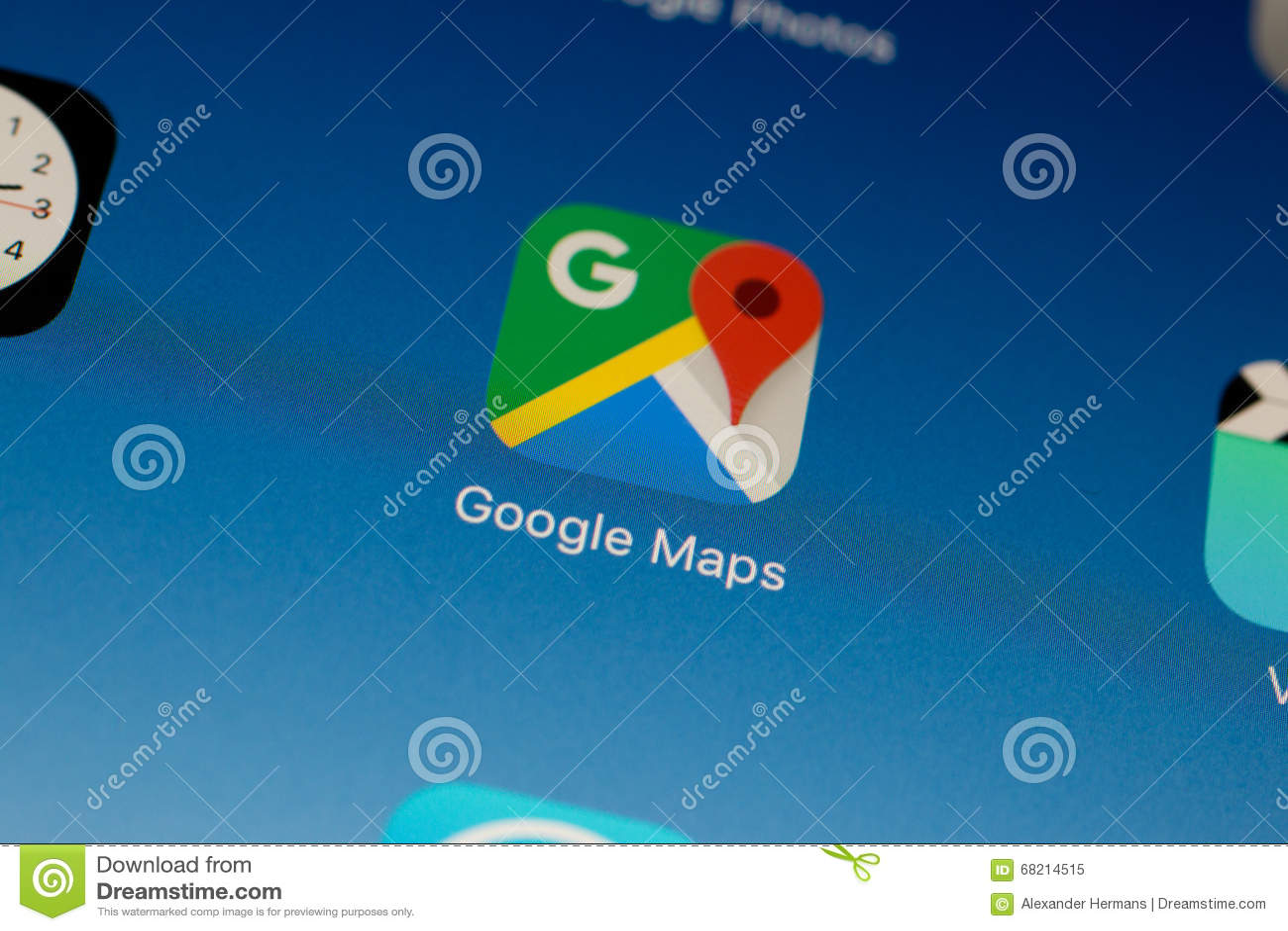 Google Maps-Anwendungsdaumennagel/-logo auf einer iPad Luft