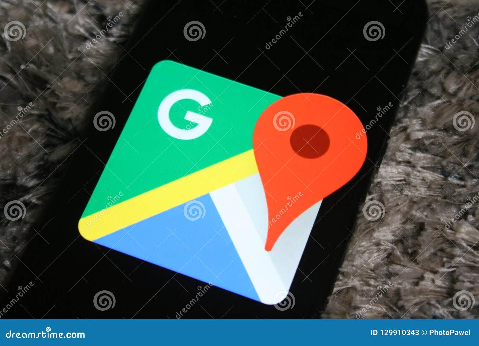 Google Maps Logo App On Samsung Phone Screen Editorial Stock Photo