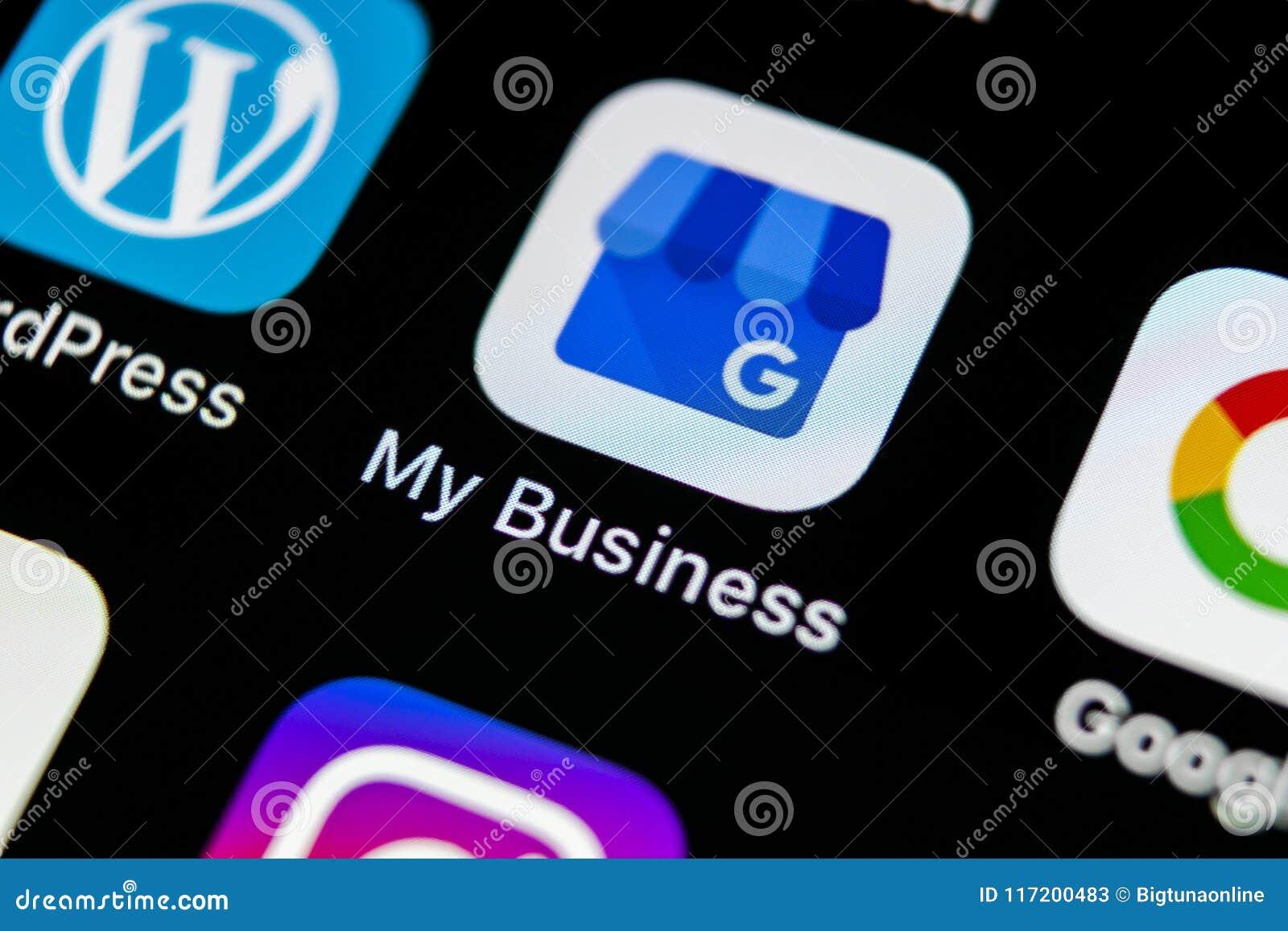Google mon icône d application économique sur le plan rapproché d écran de l iPhone X d Apple Google mon icône d affaires Google