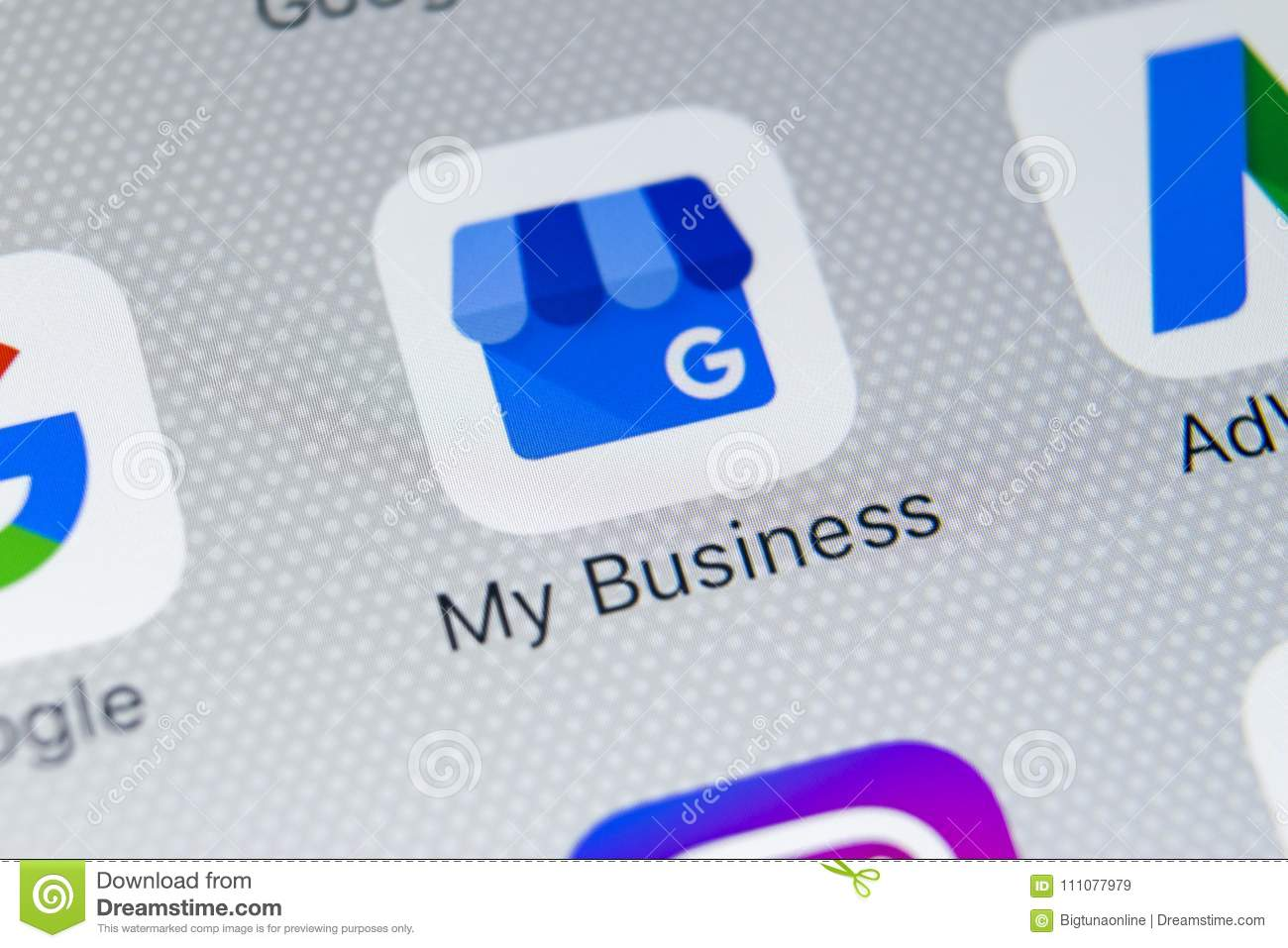 Google My Business Application Icon On Apple IPhone X Screen Close