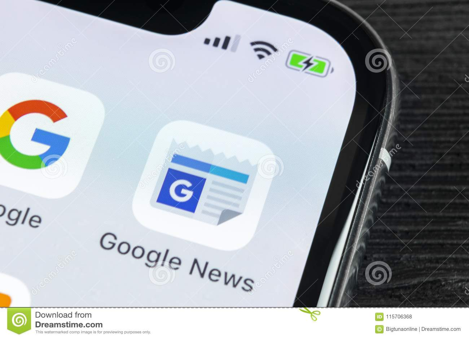 Google News Application Icon On Apple IPhone X Smartphone