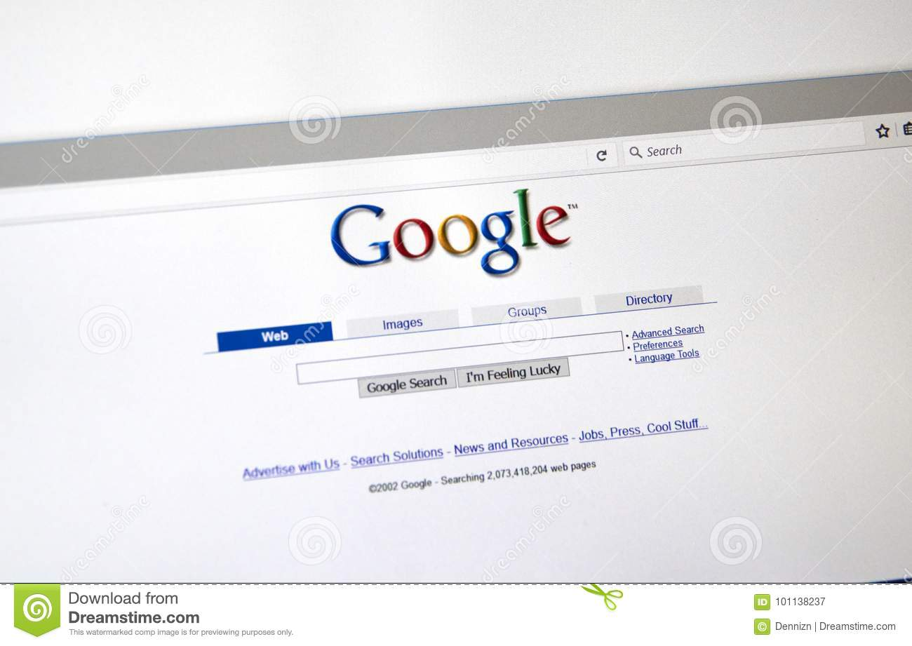 Google Old Style Search Page  Editorial Photography - Image